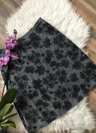 Вельветовая юбка принт