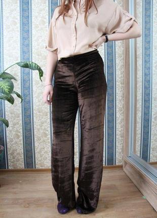 Прямые шелковые брюки под высокий каблук zara