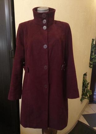 Велюровое пальто цвета марсала,батал 52-54 р1 фото