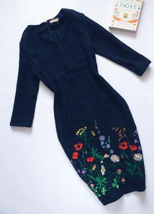 Шикарное вышитое льняное платье