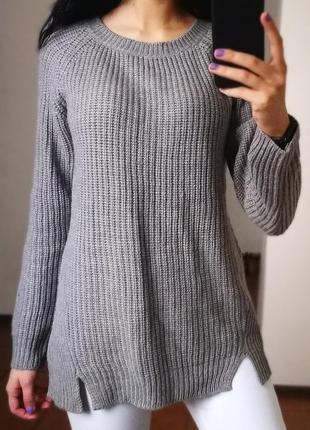 Серый вязанный свитер atmosphere с рукавом реглан