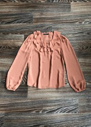 Персиковая шелковая шифоновая блузка блуза с воланом на горловине от atmosphere
