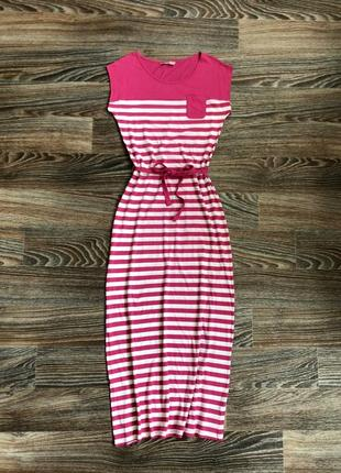 Розово-белое полосатое макси длинное платье в полоску, короткий рукав, карман, пояс от tu