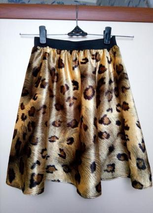 Леопардовая юбка солнце клеш