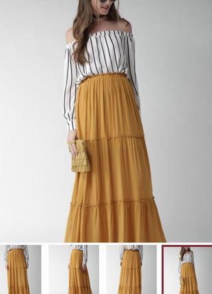 Потрясающая макси юбка горчичного цвета от zara