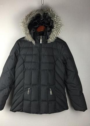 Чёрная зимняя куртка пуховик per una mark spencer пух перо жіночий пуховик