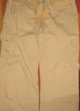 Брендовые штаны необычного фасона с поясом