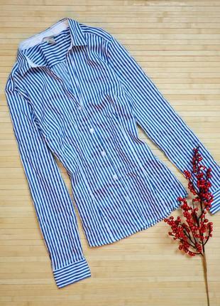 Классическая приталенная рубашка в полоску h&m