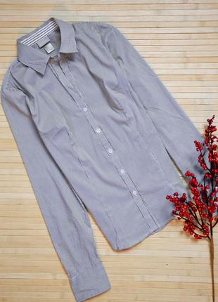 Классическая приталенная рубашка в мелкую полоску h&m