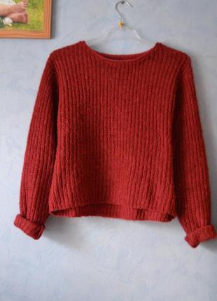 Теплый свитер с мохером цвет марсала