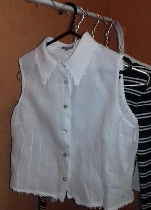 Белая льняная рубашка блуза