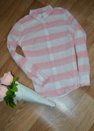 Крутая рубашка полоска трэнд сезона нежная стильная*размер с-м. состояние идеальное