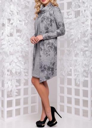 Свободное вязаное платье с накидкой (m,l,xl,xxl/4 расцветки)3 фото