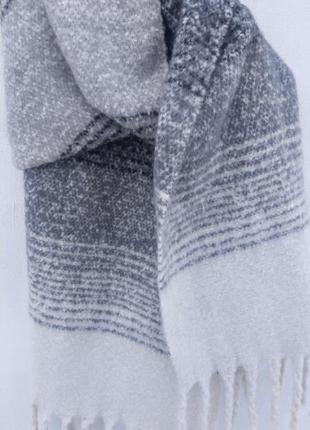 Шарф-плед в широкую полоску3 фото