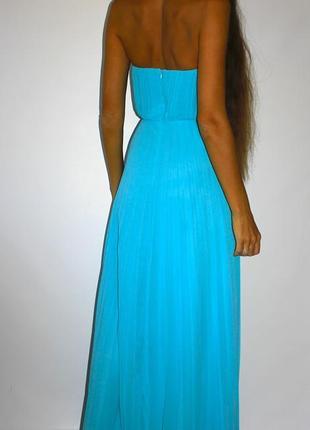 Шифоновое плиссированное платье! ярко голубое - есть поролон вкладки2 фото
