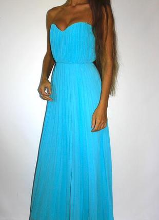 Шифоновое плиссированное платье! ярко голубое - есть поролон вкладки