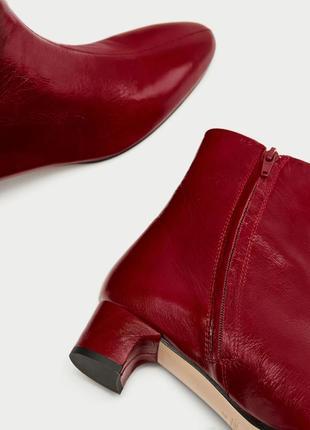 Кожаные красные ботильоны3