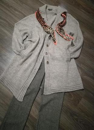 Шикарный теплый кардиган-пальто кофта люкс качество италия линия max mara3 фото