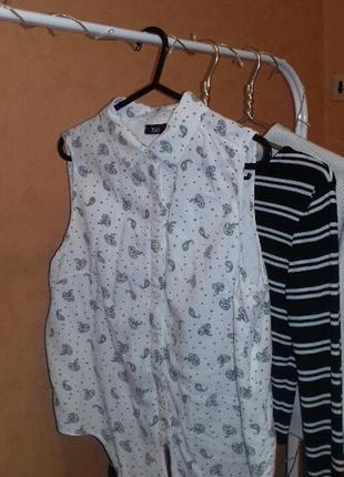 Белая блуза рубашка с принтом2
