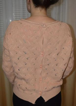 Шикарный свитэр жемчуг,оригинальная спинка.пудровый модный цвет.4