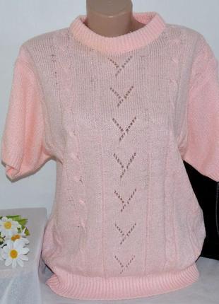Брендовая розовая теплая кофта свитер в косичку abel индонезия акрил1