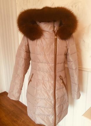 Качественное пальто-пуховик с натуральным мехом, размер 46-48.1