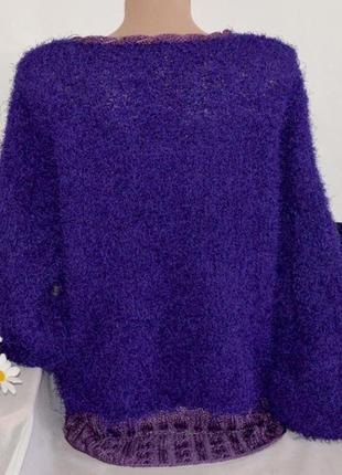 """Брендовая фиолетовая вязаная теплая мягкая кофта свитер """"травка"""" с бусинами2"""