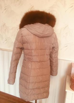 Качественное пальто-пуховик с натуральным мехом, размер 46-48.3