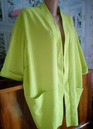 Яркий кардиган большого размера лимонного цвета2 фото