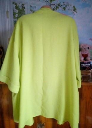 Яркий кардиган большого размера лимонного цвета3 фото