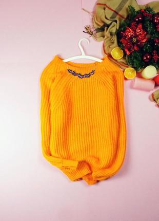 Яркий апельсиновый свитер красивой вязки по-типу в рубчик! atmosphere2 фото