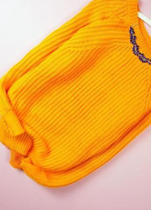 Яркий апельсиновый свитер красивой вязки по-типу в рубчик! atmosphere1 фото