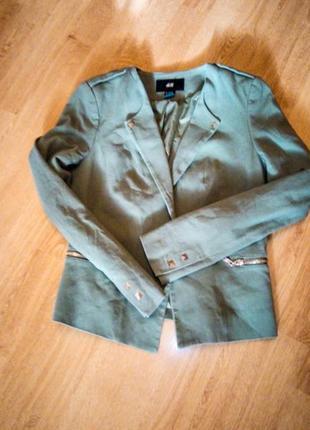 Хаки пиджак джинсовый1