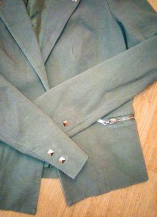 Хаки пиджак джинсовый3