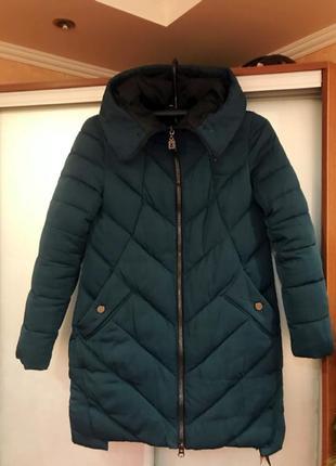 Куртка длинная темно-зеленая, пуховик зимний1