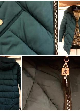 Куртка длинная темно-зеленая, пуховик зимний2