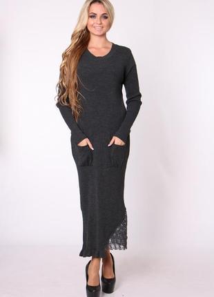 Трикотажное, вязаное платье с кружевом1 фото