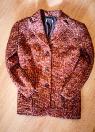 Оранжевый твидовый пиджак батал большой размер2 фото