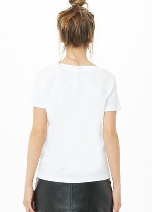 Базовая белая футболка хлопковая м forever 212 фото