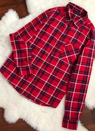 Шикарная натуральная рубашка в клетку ( теплая)1