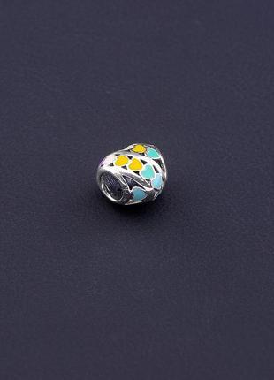 Шарм разноцветное сердце серебро 925 проба.2