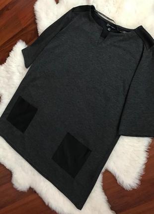 Натуральная кофта с кожаними карманчиками от дорогого бренда , свитерок