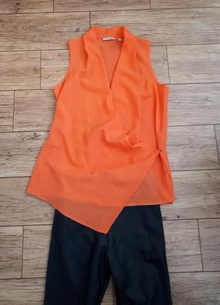 Оранжевая удлиненная блуза кардиган на запах майка топ1