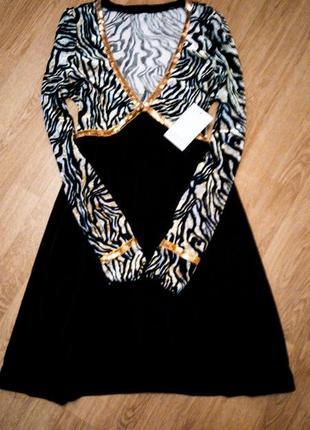 Платье черное леопардовое с золотыми пайетками животный принт фирменное1 фото