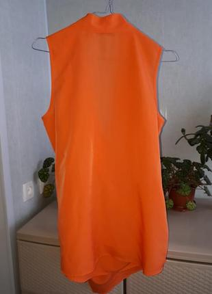 Оранжевая удлиненная блуза кардиган на запах майка топ4