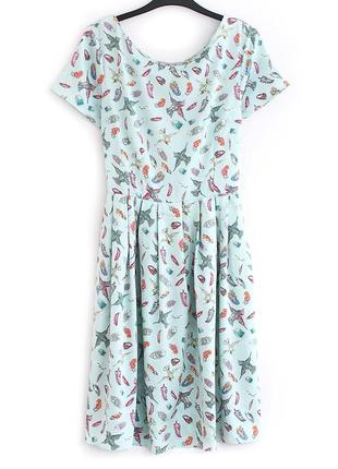 Легкое платье с птичками peacocks • р-р  l (12\40), можно и на m-l1
