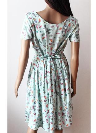 Легкое платье с птичками peacocks • р-р  l (12\40), можно и на m-l5