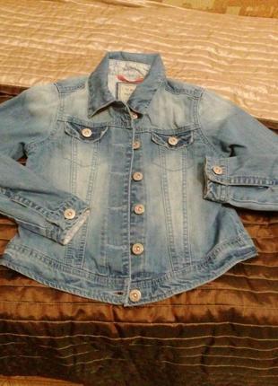 Джинсовая курточка бренд next для девочки 10-11 лет цвет свело-синий2