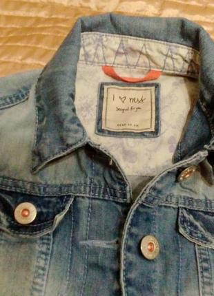 Джинсовая курточка бренд next для девочки 10-11 лет цвет свело-синий
