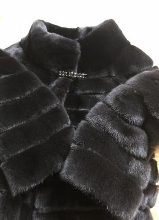 Норковая шуба manzari, nafa, 80 см поперечка чёрная, 44-46,5 фото